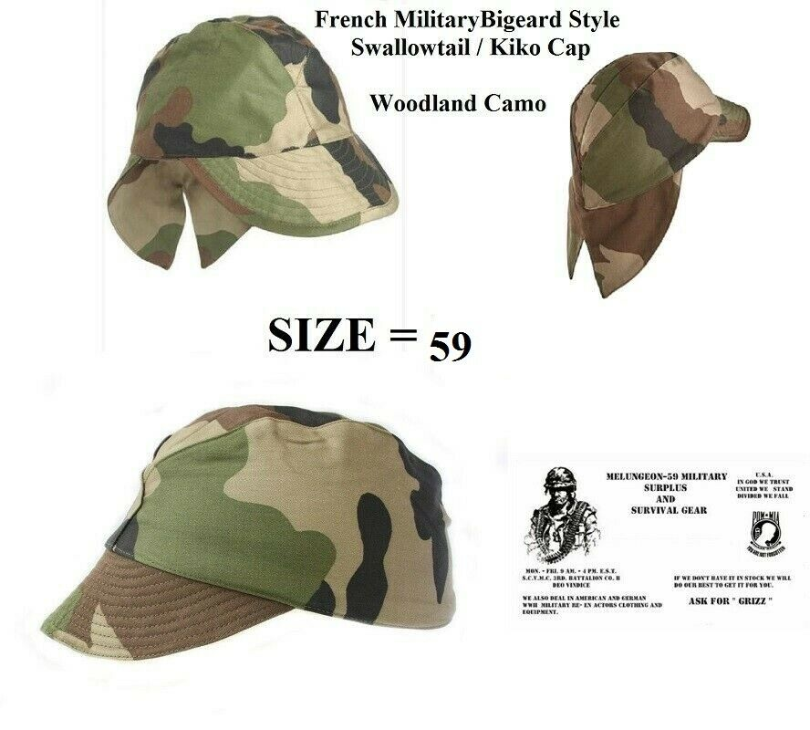 456a4d45e7f Authentic Original French Military CEC Camo Combat Swallowtail Field Cap  SIZE 58