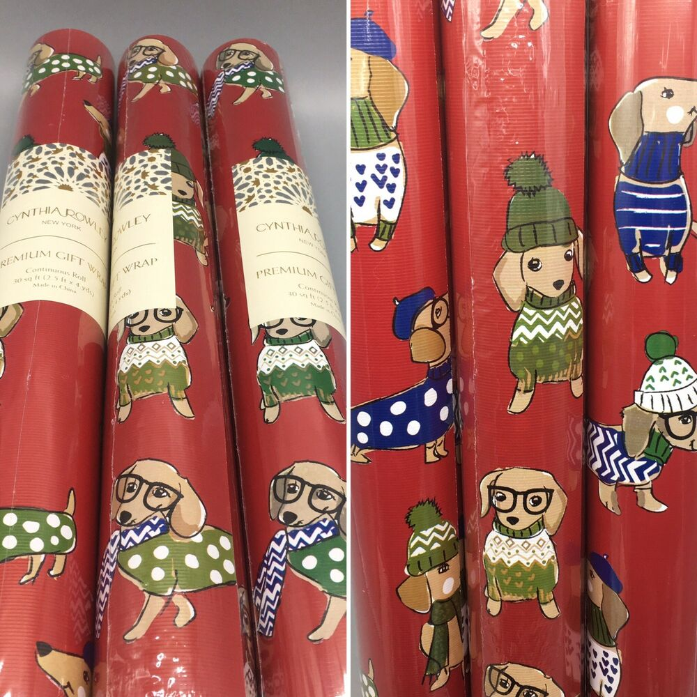bb8a40cd9c9 Details about Cynthia Rowley Dachshund Dog Christmas Holiday Wrapping Paper  Gift Wrap 3 Rolls