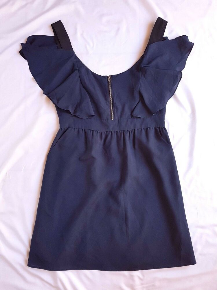 49e78f40eb1f71 Details about AS NEW ASOS Size 12 Dress Navy Blue Off Shoulder Mini Flutter  Sleeve Party Races