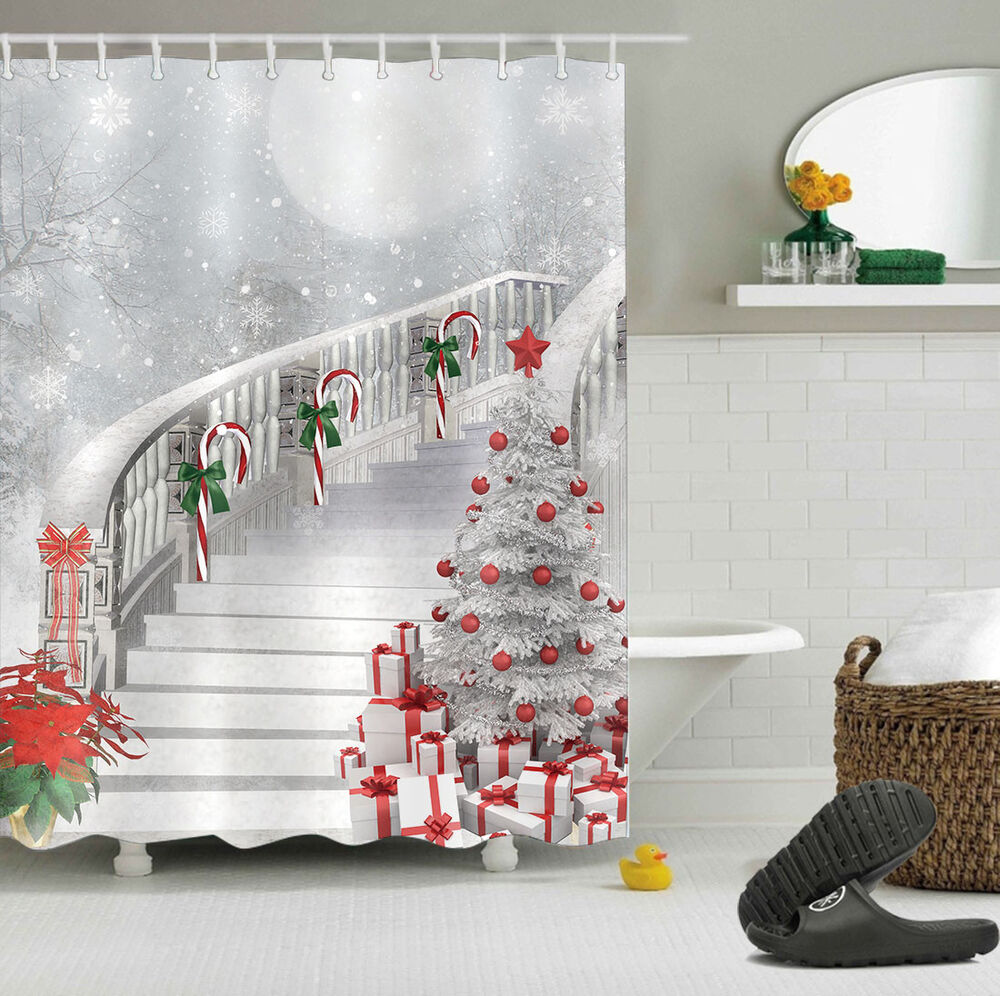Christmas Tree Gift Candy Cane Stairs Polyester Fabric ...