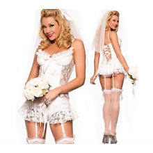 Sexy Women Bride Sexy Costume Cosplay  Halloween Outfit Fancy Bridal bachelor