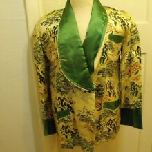 VTG Brocade Asian Smoking Jacket Robe Embroidered Green Size Medium