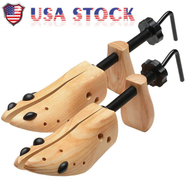 One Pair 2-way Wooden Adjustable Shoe Stretcher for Men Women Size 9-13 BS US