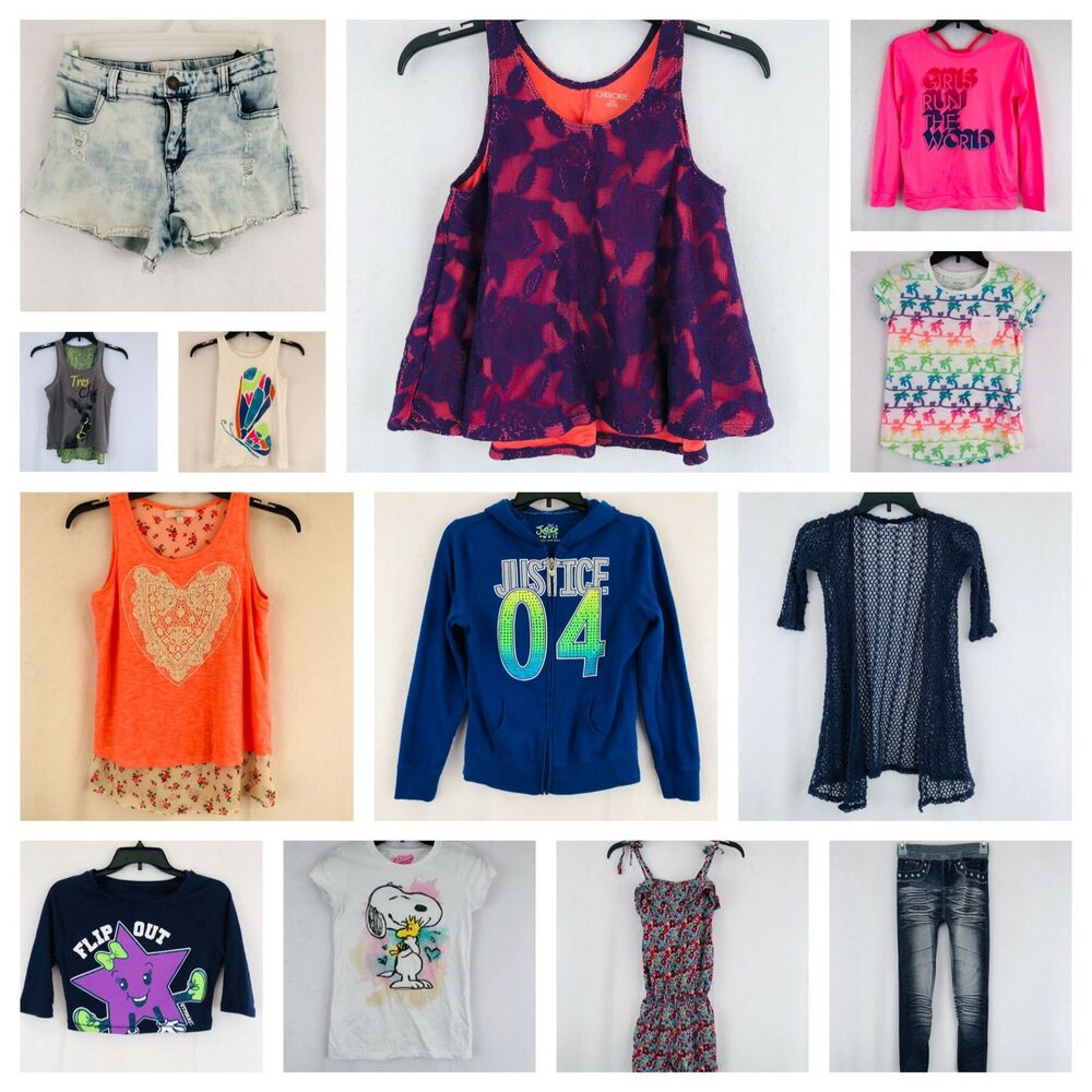 13 Items Lot Bundle Girls Clothes Size Large 10 12 14 Tops Romper