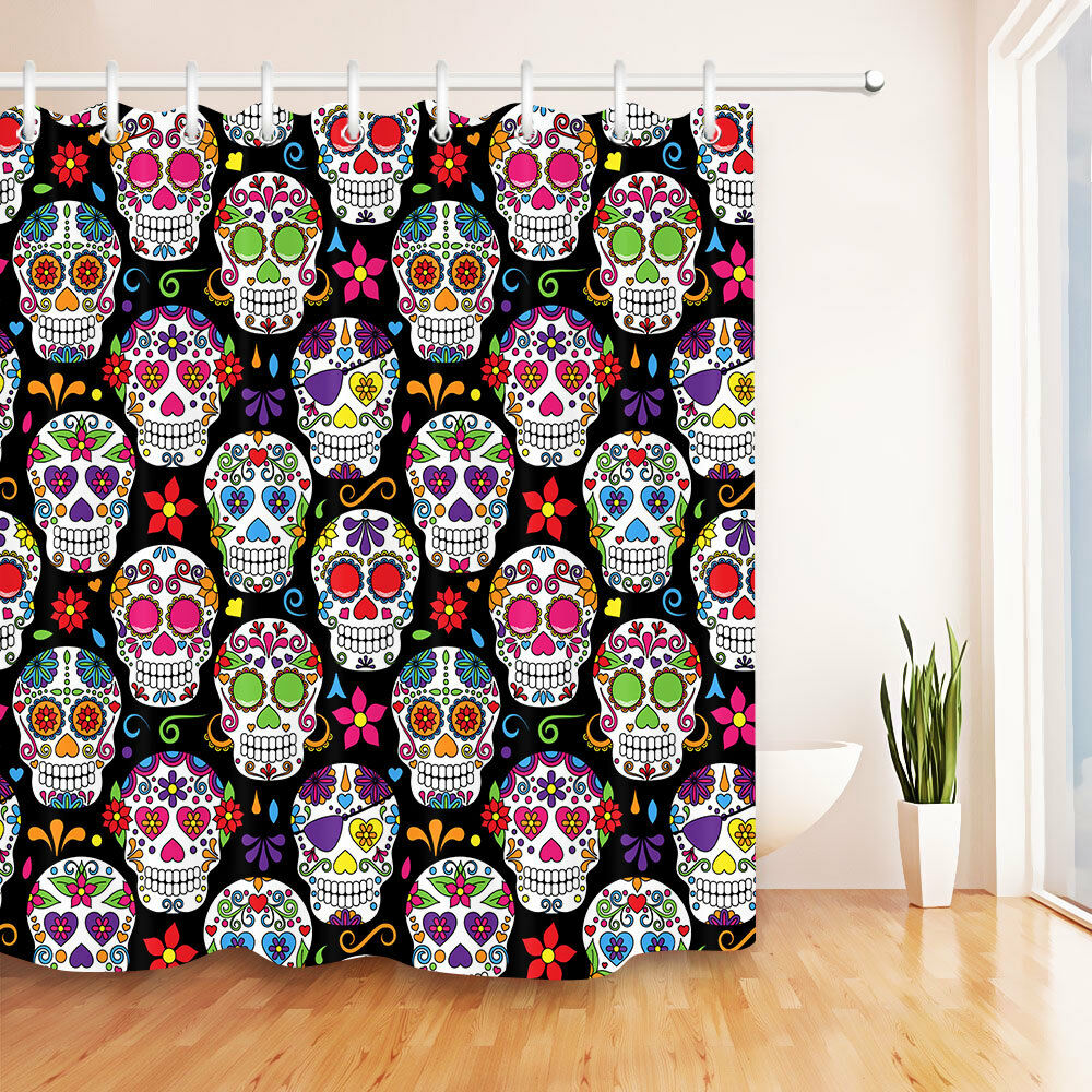 Details About 72X72 Day Of The Dead Sugar Skull Shower Curtain Set Waterproof Bathroom Hooks