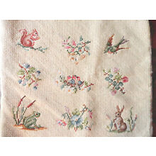 SWEET ANT NEEDLEPOINT: BUNNY, SQUIRREL, FROG, BIRDS, 15x15 DK CREAM BACKGROUND
