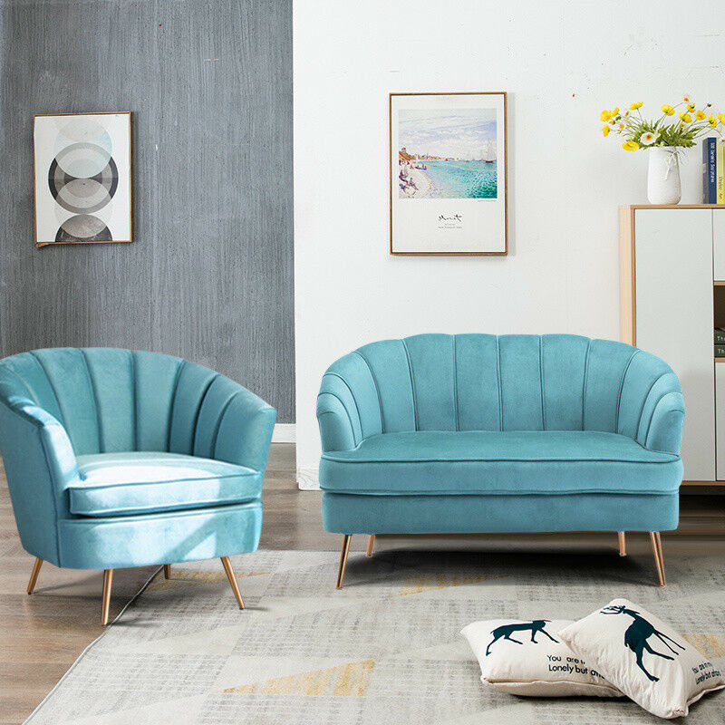 Details About Teal Blue Accent Armchair Upholstered Tail Chair Sofa Two Seat Couch Velvet