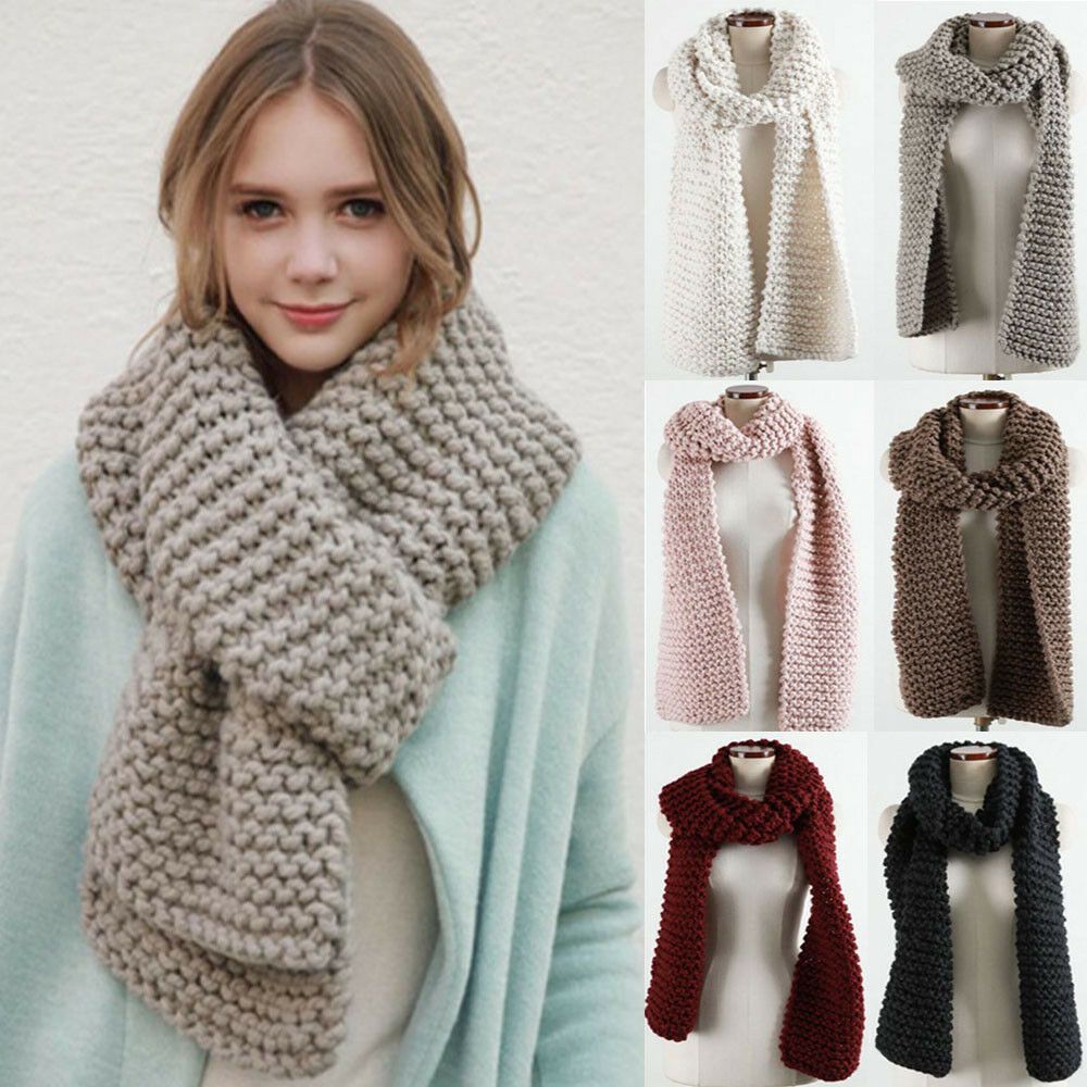 24d1d31f4bce Details about Winter Women Coarse Knit Scarf Long Wool Shawl Men Warm Thick  Neck Scarves UK