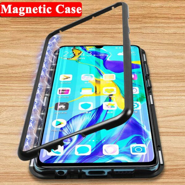 Magnetic Adsorption Metal Glass Case Cover For Huawei Mate 20 P20 Lite P30 Pro