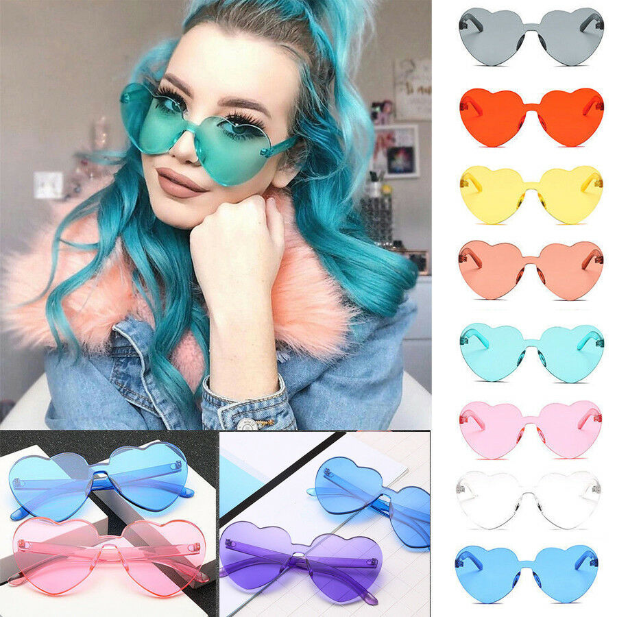 06d579afcd0 Details about Fashion Oversized Sunglasses Clear Lens Love Heart Shaped  Lady Womens New Hot