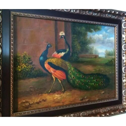 beautiful-double-peacock-painting-on-canvas-framed