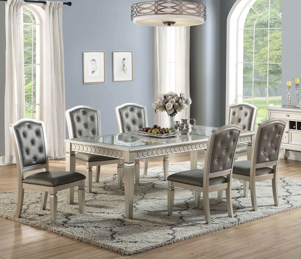 Details about 7pc transitional zoey metallic silver finish wood glass dining table set chairs