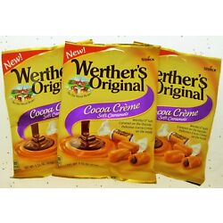 Werther's Cocoa Creme Soft Caramels Werthers Chews Chocolate Cream Purple 3 Bags