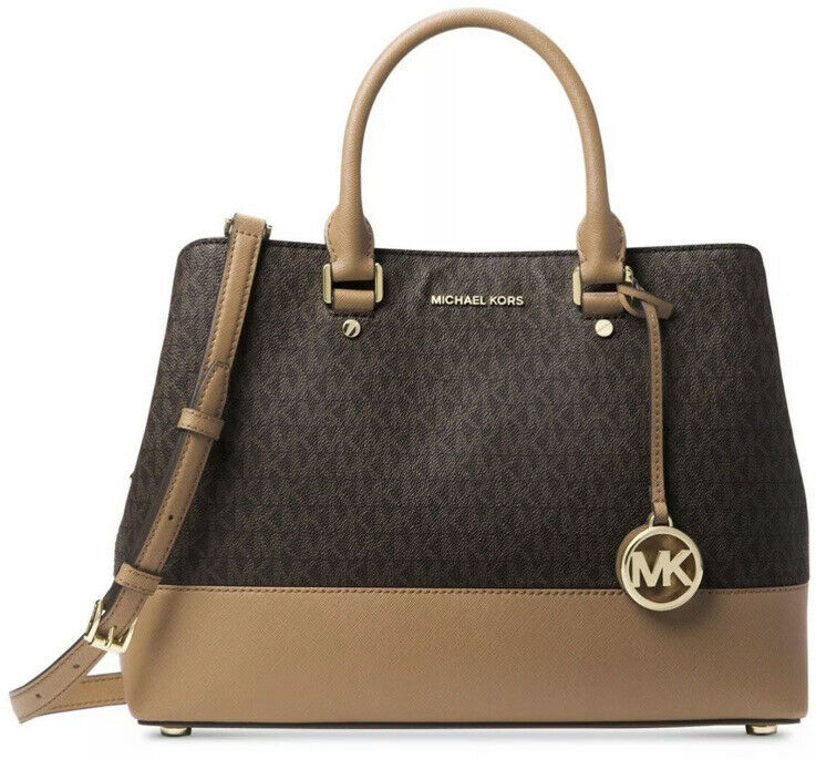 c85e976be8fb Details about New Michael Kors Savannah Signature Large Satchel brown Acorn  gold Pvc mono bag