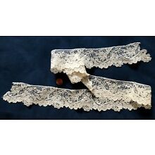 19th C handmade Brussels point de gaze needle lace edging COLLECTOR Bride
