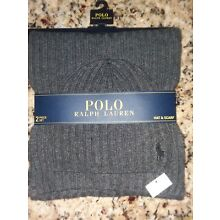 POLO Ralph Lauren Men Winter Beanie Hat Scarf Set RIBBED Lambswool Charcoal Grey