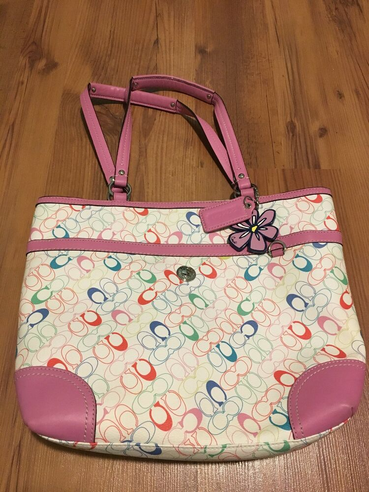 Details about COACH Heritage Chelsea Pink Trim Multicolor Signature Flower  F16874 Tote Purse 7afe80954438f