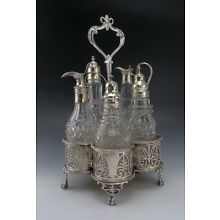 Antique Georgian English Cut Glass Cruets and Casters in Sterling Silver Stand
