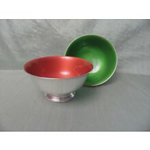 Two vintage Reed & Barton 102 enamel silver plate bowls Green Orange