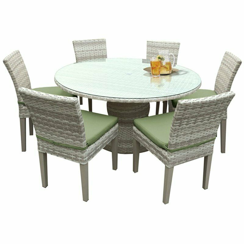 Tkc Fairmont 7 Piece 60 Round Glass Top Patio Dining Set