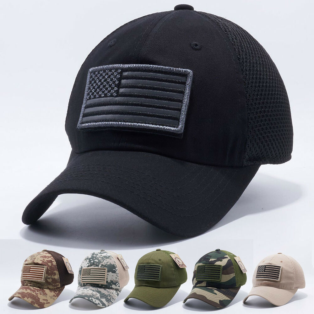 cdf16b40b46 Details about USA American Flag hat Detachable Baseball Mesh Tactical  Military Army cap US