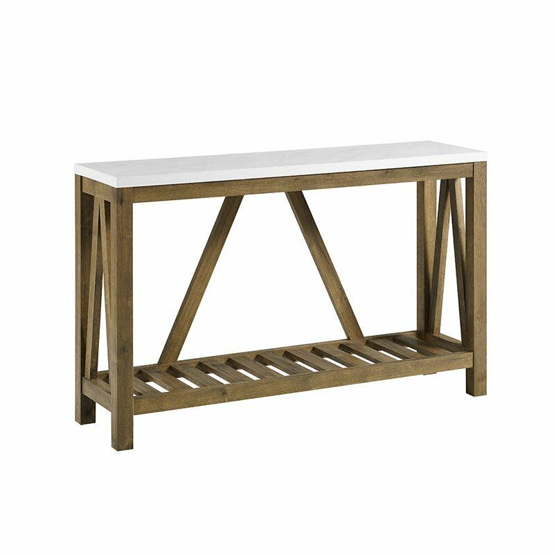 52 A Frame Rustic Entry Table With Faux Marble Top And Walnut Base