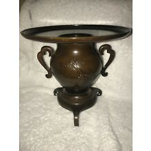 Antique/Vintage Japanese Usubata/Vase/Ikebana Bronze Brown