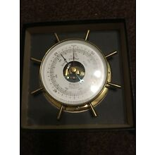 Vintage Genuine Airguide Marine Barometer Brass Mod. 213-B in box Shipwheel Type