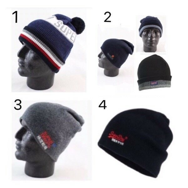3e9f9f9fc2846 Details about SUPERDRY Mens Beanie   Bobble Hat Variations Colour 2 In 1  Embroidery New Sealed