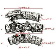 3pcs/set Antique Dragon Dreadlock Bead Hair Beads Rings Jewelry Accessory Silver