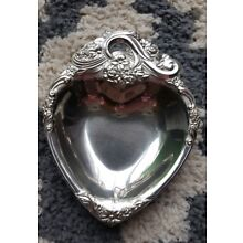 Vintage Raimond Japan Sterling Heart-Shaped Silver Tray Candy or Jewelry Dish