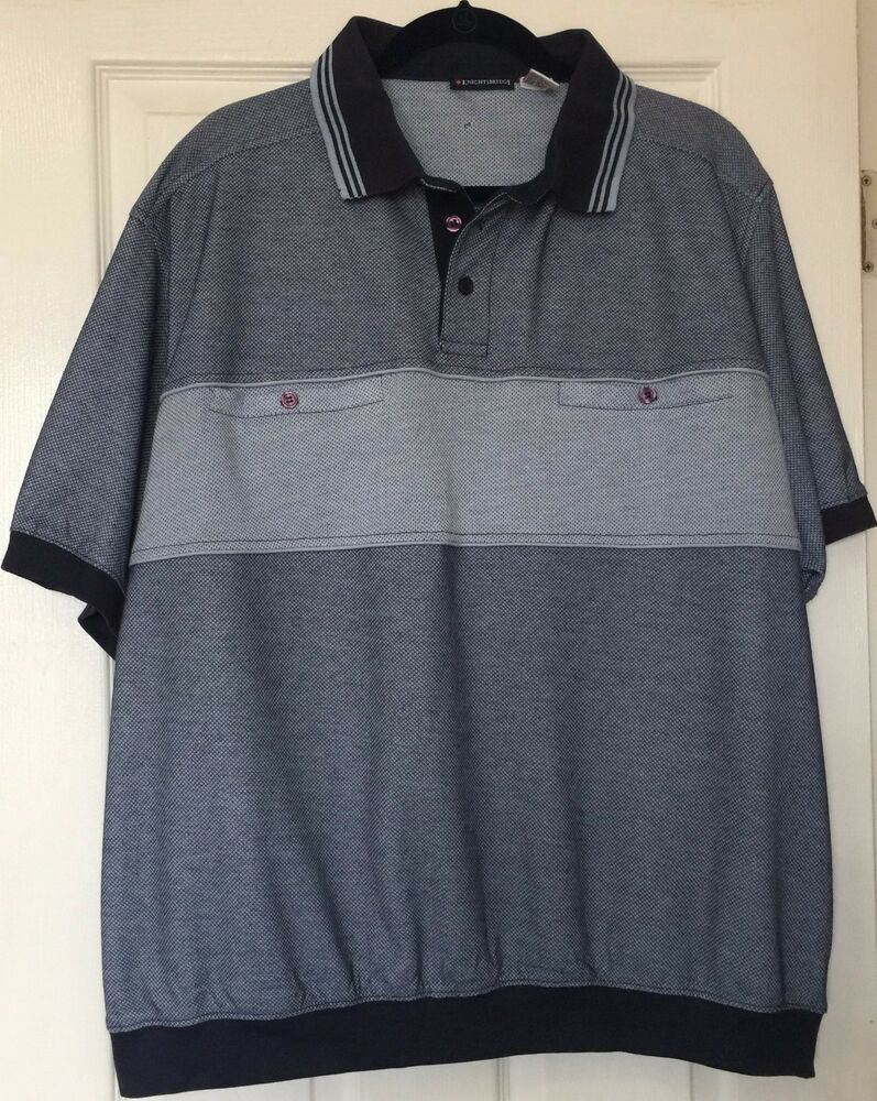 Brand New Men Polo Shirt Big Men Size 2x Navy Banded Bottom 2 Front