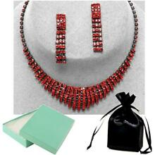 Red Crystal Necklace Set Elegant Formal Prom Evening Jewelry