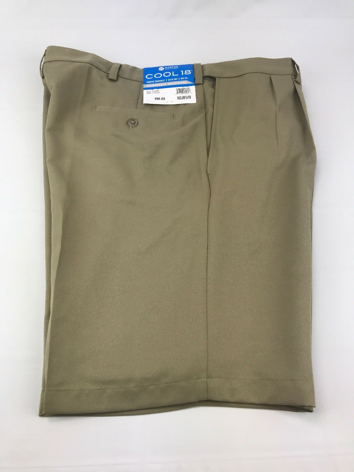 1cde18d690 ... UPC 017458162648 product image for Mens Haggar Cool 18 Pleated Stretch  Waist Khaki Beige Golf Shorts