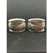 ANTIQUE PAIR OF ENGLISH WILLIAM DEVENPORT STERLING SILVER NAPKIN RINGS .