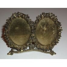 VINTAGE ORMOLU FLORAL MOTIF DOUBLE OVAL PICTURE FRAME