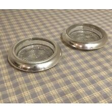 """2 STERLING GLASS COASTERS By ??? Marked ~4"""" X1"""""""