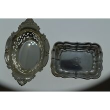 Antique LOT OF 2 STERLING SILVER GORHAM , REED & BARTON TRINKET PIN TRAY DISH