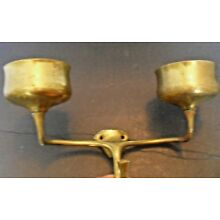 ANTIQUE BRASS SINK DOUBLE CUP & CLOTH HOLDER *2 HOLE WALL MOUNT~CHIPPY* PATINA