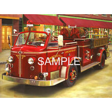 American LaFrance New York fire Engine truck firefighter fireman paper print