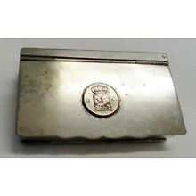 Antique Silver Plated over Copper Heraldic Crest Lidded Box