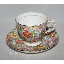 ThriftCHI ~ Tuscan English Bone China Tea Cup & Saucer Multi Color Floral Design