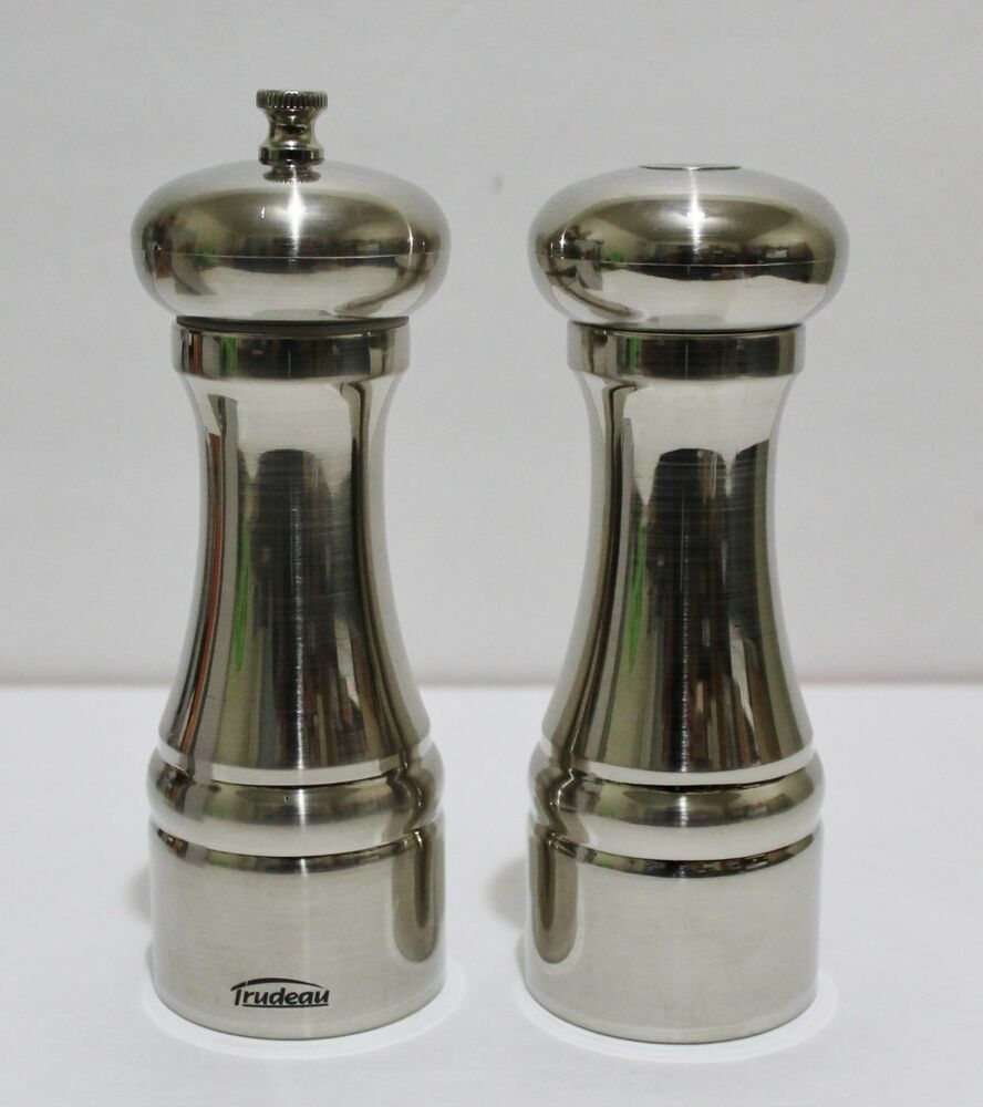 trudeau pepper mill and salt shaker set 6 5 stainless steel new in box 63562522700 ebay. Black Bedroom Furniture Sets. Home Design Ideas