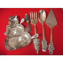 (8) Christmas Holiday Silverplate Serving Pieces  #13