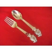 (2) Pc Towle Silverplate Child`s Fork & Spoon Set, Santa Claus   #13