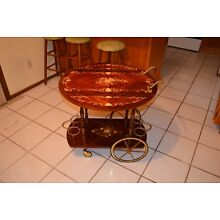 VINTAGE ITALIAN SORRENTO INLAID MARQUETRY COCKTAIL BAR CART