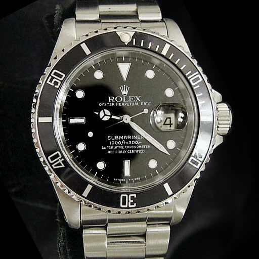 2320b1264dc5 Details about Rolex Submariner Date Stainless Steel Watch Black Dial Bezel Mens  Sub 16610