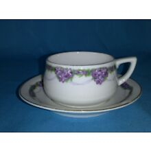 Tea Cup and Saucer Set - Purple Flowers with Gold Trim