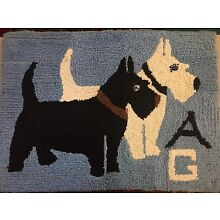 Vintage Hand Made Blue / Scottie Dog Westie Terrier Hooked Throw Rug 30x22