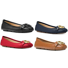 Michael Kors Fulton MK Ballet Flats Admiral Navy Bright Red Black Luggage Brown